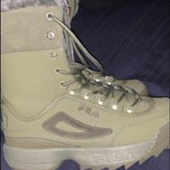 army green fila boots cheap online